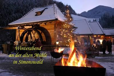 Winterabend bei der alten Mühle