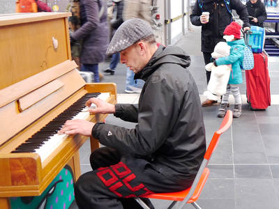 A piano in the train station