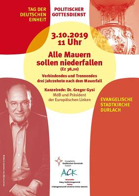 Interner Link zur Veranstaltung: ?Alle Mauern sollen niederfallen? ? Politischer Gottesdienst am Tag der deutschen Einheit