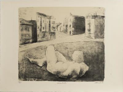 Otto Möhwald, Melancholie, 1990, aus der Mappe Spurensuche, Kunstarchiv Beeskow, Foto A. Herrmann, KünstlerNachlass.