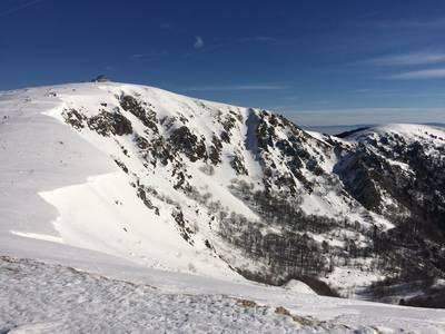 Alpine Landschaft in den Hochvogesen  gefhrte Schneeschuhwanderung am Hohneck