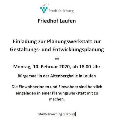 Planungswerkstatt zur Gestaltungs- und Entwicklungsplanung - Friedhof Laufen