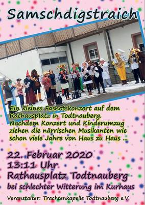 Samschdigstraich mit de Musikkapelle Chrach