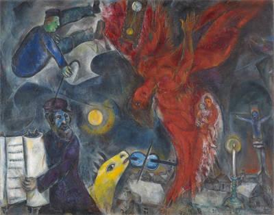 Marc Chagall,Der Engelssturz,1923-33-47,Depositum aus PrivatsammlungFoto: Martin P. Bühler. (© Chagall - Welt in Aufruhr)