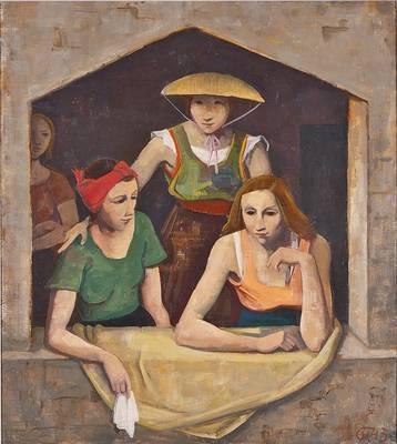 Karl Hofer, Drei Mädchen am Fenster, 1943, Öl auf Leinwand. (© VG Bild Kunst Bonn 2020)